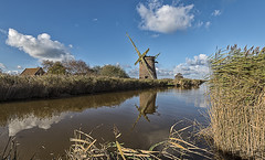 Broken (David Feuerhelm) Tags: nikkor windmill ruin broken mill watermill tower drain cloud reflection reeds colour serene countryside old history historic norfolk norfolkbroads england wideangle nikon d750 nikkor1635mmf4