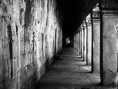 Ta Prohm Temple, Cambodia (Hammerhead27) Tags: bw blackandwhite historic old building columns monochrome dark light corridor ruin infinity temple cambodia ancient