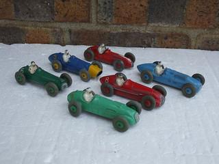 6 Vintage 1950's Dinky Racing Cars Ferrari Cooper Bristol Maserati HWM & Talbot Lago & Alfa Romeo Beautiful Old Toys