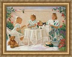 Tea in the Rose Garden, framed (Nancy Lee Moran) Tags: sisters girls cat teddybear fineartamerica nancyleemoran framing artprint teacup teaparty battenburg lace sunshine garden roses babybuggy tea wicker table chairs summer wall
