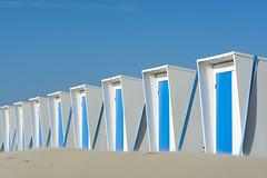 Eight beach huts (Jan van der Wolf) Tags: map161119v beach beachhuts blue blauw strand zand sand herhaling repetition straps spanbanden rhythm visualrhythm