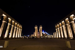 Luxor Temple (Hossam Ghaith) Tags: 500px hossam ghaith canon eos 6d ef 1740mm f4l usm columns luxor egypt this is long exposure mosque lights night nightscape historic tourism travel hieroglyphs architecture architectural building landscape color raw temple sky stars nobody arabic