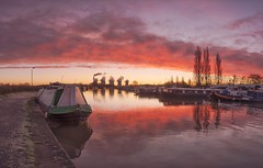 Fire and Frost (Captain Nikon) Tags: sawleycut sawley derbyshire leicestershire frosty frost sunrise dawn winter ice reflections panoramic narrowboat ratcliffeonsoarpowerstation england landscapephotography