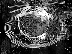 Take Me to Your World (Steve Taylor (Photography)) Tags: tree planet satellite stars art digital black white weird strange odd ring lines circle monochrome blackandwhite monotone