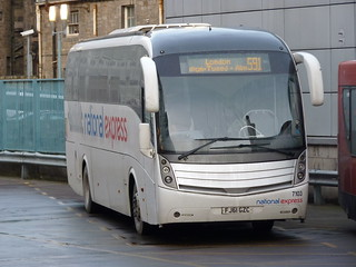Go North East, National Express liveried, Volvo B9R Caetano Levante FJ61GZC 7103 laying over at Edinburgh Bus Station on 12 December 2017 prior to operating service 591 to London via Berwick Upon Tweed, Newcastle and Milton Keynes.