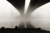 Fisherman on a foggy morning. III (Fencejo) Tags: canon600dt3ikissx5 tamronspaf1750mmf28xrdiiild blackwhitebwstreetcityblackandwitestreetphotographymonochrome snapseed halo ebro river fog