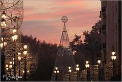 Atardecer en la Avenida de la Constitución (al fondo la Puerta de Jerez) (María Jesús Feria) Tags: sevilla luces navidad street farolas