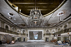 Fowl Ballroom (eholubow) Tags: urban decay st louis ballroom presidential chandelier crystal swan pheasant metal bird sculpture urbex abandoned bando
