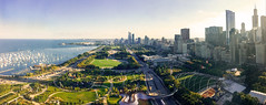 Chicago - Grant Park (Mauricio Mejía) Tags: chicago panoramic pano panorama summer vibrant bright park grant millennium buckingham fountain green lake michigan illinois building city skyline south sunny maggie daley art institute museum campus water blue urban boat landscape sky cloud road grass