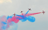 Red Arrows Paint the town red - and blue (Vee living life to the full) Tags: duxford aircraft museum imperial war fighting conflict aeroplane spitfire redarrows formations nikond300 thegoodlife social outing pilots colour color sky blue red smoke 2017