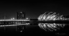 Mono version of Glasgow  Clydeside. (Catherine Cochrane) Tags: building glasgow night ssehydro water outdoors beautiful skyline nightshot monochrome bridge skyscraper city scotland blackandwhite bw mono uk reflections