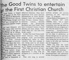 Good Twins & Art Peterson at First Christian Church of Monticello, 1980-03-04 (RLWisegarver) Tags: piatt county history monticello illinois usa il