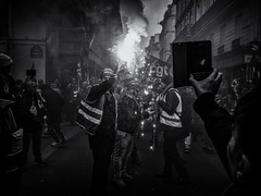 To the Bastille! (Feldore) Tags: french man paris union fire holding light march marching protest revolution smoke street torch workers feldore mchugh em1 olympus 17mm 18