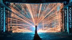 Incandescent web (palateth) Tags: lightpainting lightart night nophotoshop singleexposure urbex abandonnedplace backlight fireworks