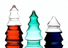 RGB Christmas (Karen_Chappell) Tags: red green blue rgb xmas noel holiday white three 3 christmas christmastree glass liquid stilllife