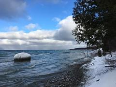 Almost winter (Georgian Bay Dreamer) Tags: rocks clouds blue white georgianbay ice snow water owensound ontario canada