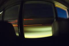 Bus Window (Sean Anderson Media) Tags: longexposure buswindow traffic driving highway blur motionblur rokinon75mmf35 fisheyelens ultrawideangle carlights omdem10 olympus microfourthirds manuallens night olympusem10 lighttrails fisheye