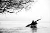 Kayaking on Danube River (DobriMv) Tags: winter fog kayaking river danube black white mystique bulgaria ruse adventure outdoors