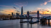 London Tower Bridge at sunset (Valentin Laurentziu) Tags: london skyline city sunset architecture building bridge sky the shard thames water boat