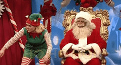 New trending GIF on Giphy (I AM THE VIDEOGRAPHER) Tags: ifttt giphy christmas snl nbc saturday night live laughing santa elf kate mckinnon 2017 season 43 kenan thompson ho cold open visit with