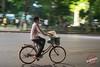 Woman on a bike (Papino Photography) Tags: hanoi viet nam vietnam bike bicycle wheel street capital city night road light traffic motion lake side