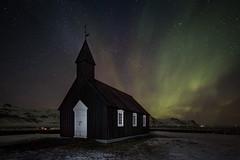 Búðakirkja (Amy Heiden) Tags: icelandiafoss2017 iceland nightphotography auroraborealis northernlights landscape church