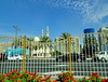 Happy Fence Friday! Dubai (peggyhr) Tags: peggyhr mosque fence palmtrees clouds buildings street flowers vehicles dsc01754a dubai uae hff