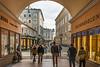 Gate and View of Churfuerstenstrasse (fotofrysk) Tags: gate churfuerstenstrasse pedestrians tourists shops bookstore architecture building easterneuropetrip salzburg austria oesterreich sigmaex1020mmf456dchsm nikond7100 201709277581
