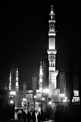 GATE No. 15 (N A Y E E M) Tags: alharam masjidnabawi holymosque almadinah night light availablelight atmosphere silhouette people pilgrims ksa saudiarabia vertical
