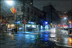 """Late-night, Brooklyn"" - NYC (TravelsWithDan) Tags: night city urban streets reflections wet sleet brooklyn nyc newyorkcity person headlights car colors canong9x latenight candid framed"