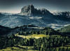 The Cool Razor (One_Penny) Tags: dolomiten italy dolomites hiking landscape mountains nature outdoor photography colraiser valley view forest trees pasture green blue tones colors peak langkofel dolomiti morning twilight light sunrise hotel house