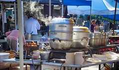 What's Cooking? (cb|dg photo) Tags: propane morning steam streetphotography foodpreparation flame fire pots stall cooking food market california sanfrancisco ferrybuilding farmersmarket