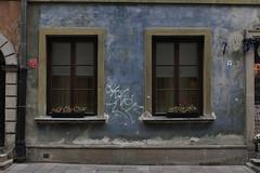 Old Town Blue (d-stop) Tags: niebieski dstop december 2017 travel europe poland warsaw warszawa blue staremiasto windows windowsill planters tag graffiti