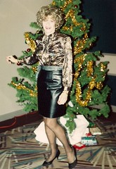 The Spirit Of Christmas Past Comes Back To Haunt You (Laurette Victoria) Tags: laurette xmas chichapter chicago woman tree leather skirt blouse