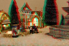 Kerstdorp 3D. (wimjee) Tags: nikond7200 nikon d7200 kerst christmas kerstdorp christmasvillage lemax afsdx18–55mmf35–5vrii 3d redcyan anaglyph stereophotomaker facebookalbum20171223
