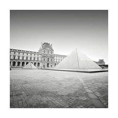 Louvre (GlennDriver) Tags: black white long exposure mono monochrome bw paris europe city architecture building museum louvre canon nd morning fine art france tranquil