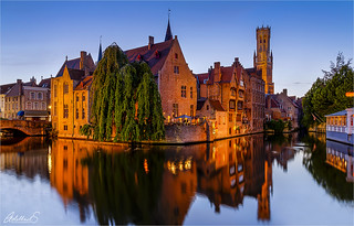 Famous view on Bruges, Belgium