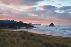 Cannon Beach Sunrise (Linda Cochran) Tags: cannonbeach oregon oregoncoast pacificocean haystackrock beach waves seastacks pink grass dunegrass sunrise