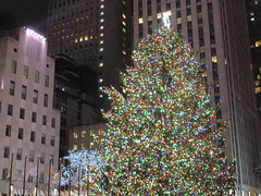2017 Christmas Tree Rockefeller Center 5049 (Brechtbug) Tags: 2017 christmas tree rockefeller center with lights 12162017 nyc 30 rock new york city standing up above ice rink snow shoveling workers skating holiday decoration ornaments night lites light oversize load ornament midtown manhattan