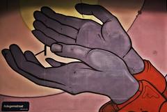 The Gift (just.Luc) Tags: vlaanderen flandres flanders mechelen avond abend soir evening nacht nuit night hands handen mains hände graffiti urbanart streetart belgië belgien belgique belgica belgium malines europa europe muur mur mauer wall art kunst public publiek outside