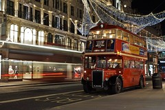 Buses on Regents Street (gooey_lewy) Tags: rt leyland bus rtl double decker london timeline events tle christmas lights 453 ensign ensignbus night evening twilight dark after hours klb 648 people red classic iconic pd2 city advertising 9 route