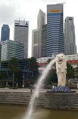 Merlion (davidjamesbindon) Tags: singapore asia city travel sculpture statue monument icon merlion fountain buildings architecture skyscrapers cbd