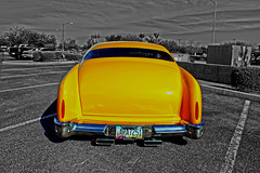 Makin' Scene Man (oybay©) Tags: mercury lincolnmercury customized 1951 1951mercury merc yellow veryyellow color colors colorful arizona glendale glendalearizona blue bluesku chrome bumper taillight car automobile cool coolcar unique heavymetal sirmixalot vehicle