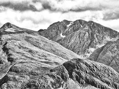Bidean nam Bian (Francis Mansell) Tags: mountain scotland bideannambian stobcoirenanlochan papofglencoe stobcoirenambeith sgorrnacìche monochrome blackwhite scottishhighlands landscape cloud filmgrain niksilverefexpro2 mamnagualainn crag snowpatch