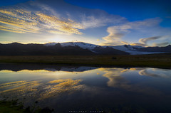 A place in heaven... (_Amritash_) Tags: heaven heavenly sunset sunsetcolors sunsetsky mountains puddle clouds reflections mirror snowcappedmountains glaciers iceland southiceland travel traveler landscape landscapes