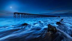moonlight sonata (Explore #1) (shutterbug_uk2012) Tags: uk united kingdom steetley hartlepool pier moonset moonlight water movement sea seascape posts groynes long exposure nikon d810