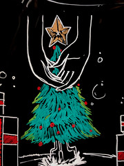 Christmas Hands (earthdog) Tags: 2017 googlepixel pixel androidapp moblog cameraphone starbucks blackboard chalk chalkboard art publicart tree hand christmas christmastree decoration