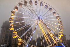 Big Wheel in the Mist (Bob Edwards Photography - Picture Liverpool) Tags: fairground ride bigwheel chairs sky blue pierhead liverpool merseyside bobedwardsphotography mist misty