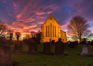 Sunset over St Mary's Church Easington 23-12-2017