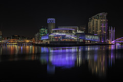 A cold night down at the Quays (andyrousephotography) Tags: lowry theatre salfordquays mediacityuk lightwaves 2017 illuminations thealchemist thebund cocktails bar restaurant detroit bridge dock9 night longexposure le andyrouse canon eos 5d3 5dmkiii ef24105mmf4l